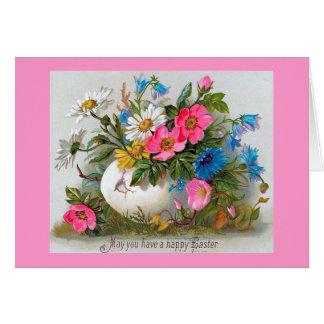Blommor för påskbukettvintage hälsningskort