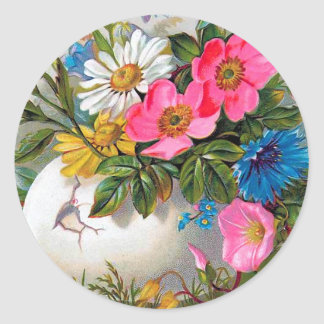 Blommor för påskbukettvintage runt klistermärke
