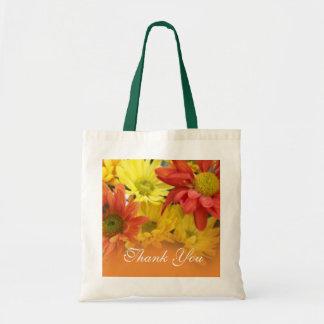 Blommor för röd gul orange daisy tackar dig tygkassar