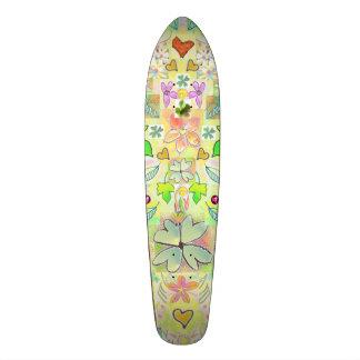 Blommor för Skateboardlövhjärtor görar grön mång- Skateboard Bräda 20,5 Cm