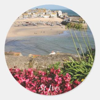 Blommor för St Ives hamnrosor Runt Klistermärke
