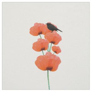 Blommor för vallmo för gullig svart fågel för tyg