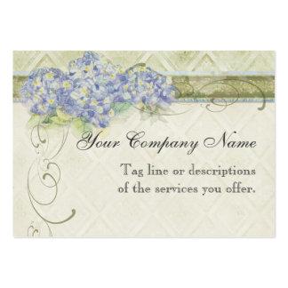 Blommor för vanlig hortensia för blått för vintage visitkort mallar
