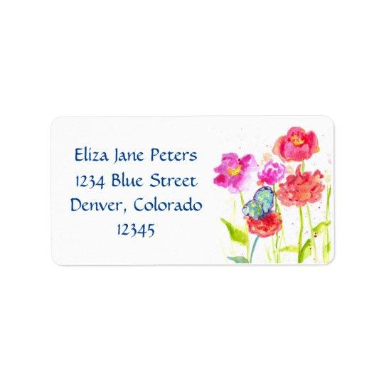 Blommor för vattenfärg för vallmo för blåttfjäril adressetikett