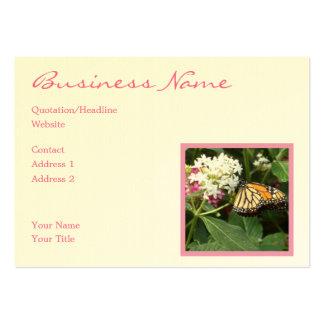 Blommor för vit för gul fjäril för orange rosa set av breda visitkort