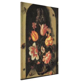 Blommor i vasen, barockt blom- stilleben för canvastryck