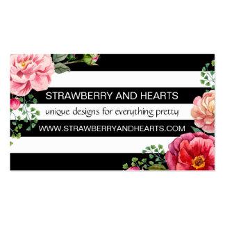 Blommor löv, blommar, görar randig - röda rosor set av standard visitkort