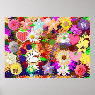 Blommor löv, duckar n-hjärtor posters