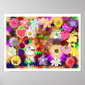 Blommor löv, duckar n-hjärtor poster