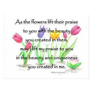 blommor lyfter deras beröm vykort