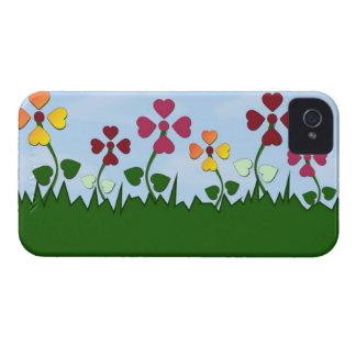 Blommor med den hjärtformade Petalsblackberry iPhone 4 Fodraler