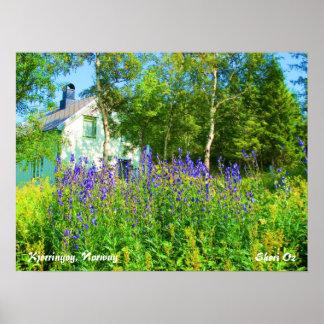 Blommor mot ett Vita hus i norge Posters