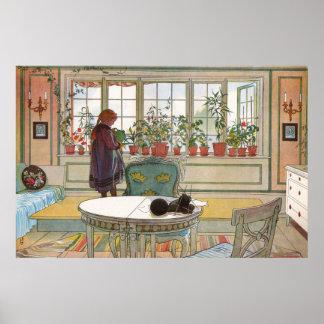 Blommor på fönsterbrädan av Carl Larsson Poster