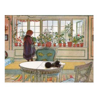 Blommor på fönsterbrädan av Carl Larsson Vykort