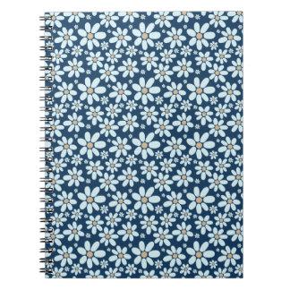 Blommor på mörk - blått anteckningsbok