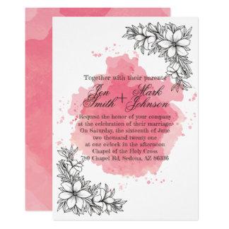 Blommor på rosa vattenfärg. Wedding. 12,7 X 17,8 Cm Inbjudningskort