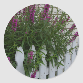 Blommor på staket runt klistermärke
