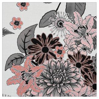 Blomsterträdgårdrosor och grå färg FTDP Tyg
