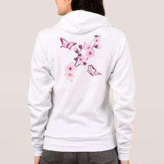 Blomstrar det blom- körsbäret för fjärilen kvinna tröja