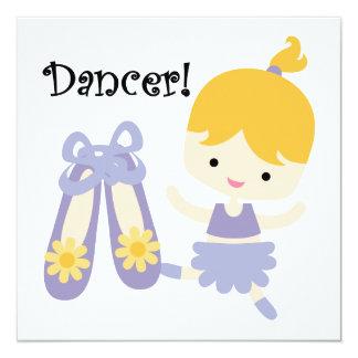 Blond dansare fyrkantigt 13,3 cm inbjudningskort