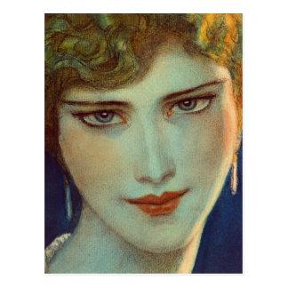 Blond flicka med örhängen vykort