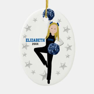 Blond Pom Squad i svart, blått & vit Julgransprydnad Keramik