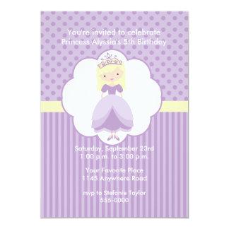Blond Princess födelsedagsfest inbjudan