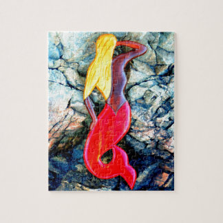 blond sjöjungfru i rött pussel