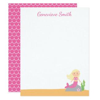 Blonda rosor för personligsjöjungfrubrevpapper | 10,8 x 14 cm inbjudningskort