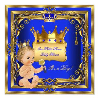 Blont för pojkeblått för Prince baby shower guld Fyrkantigt 13,3 Cm Inbjudningskort