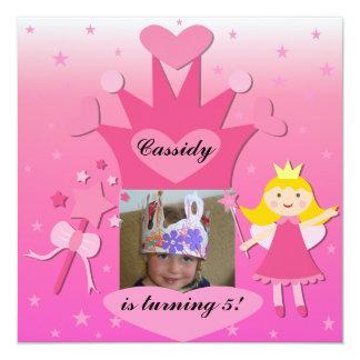 Blont party med princessen Födelsedag Inbjudan Fyrkantigt 13,3 Cm Inbjudningskort