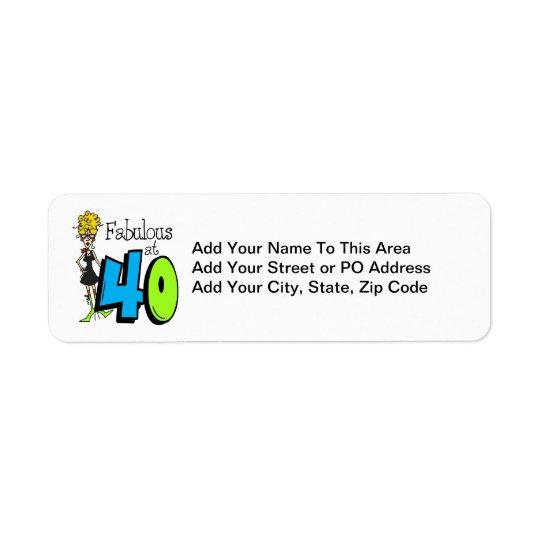 Blont sagolikt på födelsedag 40 returadress etikett