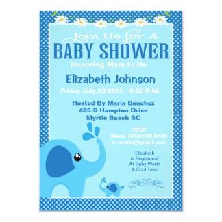 Blue Mama and Baby Elephant Baby Shower Invitation 12,7 X 17,8 Cm Inbjudningskort