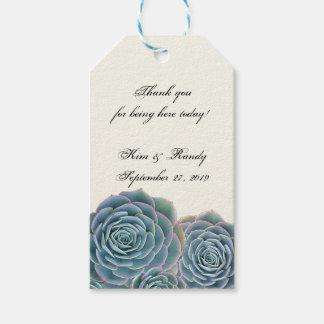 Blue Succulent Tie On Wedding Favor Pack Av Presentetiketter