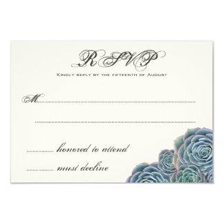 Blue Succulents Wedding RSVP Extra Line 8,9 X 12,7 Cm Inbjudningskort