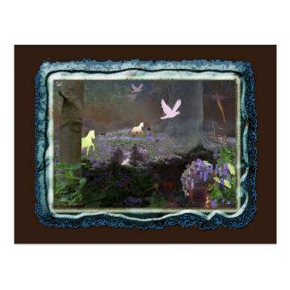 bluebellfield med unicorns vykort
