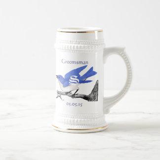 Bluebirds för vintage för GroomsmanStein bröllop Sejdel