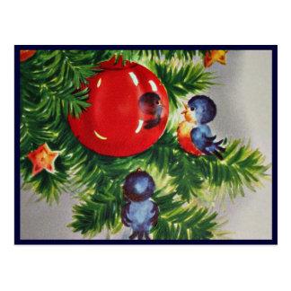 Bluebirds i en julgran vykort