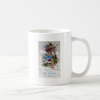 Bluebirds i vintervintagejul kaffemugg