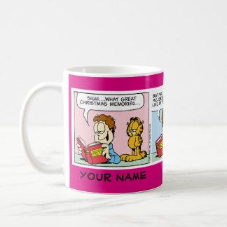 """""""Bo för den närvarande"""" muggen Garfield för den Vit Mugg"""