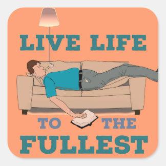 Bo livet! fyrkantigt klistermärke