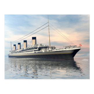 boat_titanic_close_water_waves_sunset_pink_standar vykort