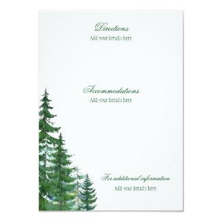 Boenden för granträdbröllop specificerar 11,4 x 15,9 cm inbjudningskort