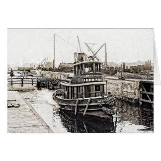 Bogserbåt och pråmar 1915 hälsningskort