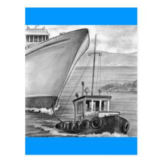 Bogserbåtfartyg som bogserar kryssningfrakten vykort