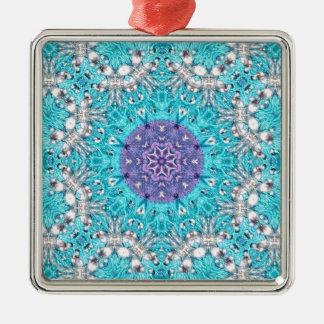 Bohem för blått för Boho marockansk broderiturkos Silverfärgad Fyrkantigt Julgransprydnad