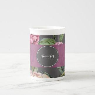 Bohemisk blommigt personifierad benporslinmugg bone china kopp