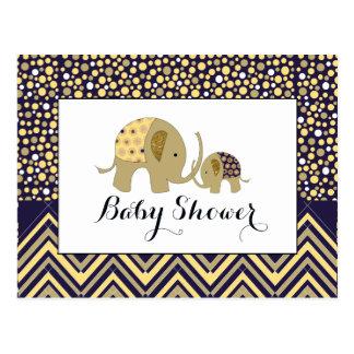 Bohemisk elefant- & sparrebaby showerinbjudan vykort