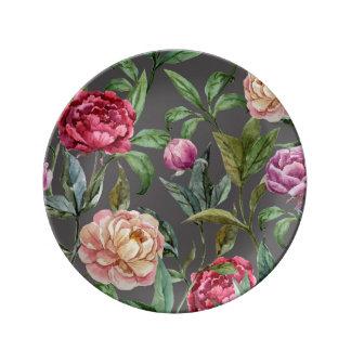 Bohemiskt blom- dekorativt porslin pläterar