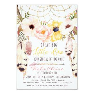 Boho blom- Dreamcatcher stam- första födelsedag 12,7 X 17,8 Cm Inbjudningskort